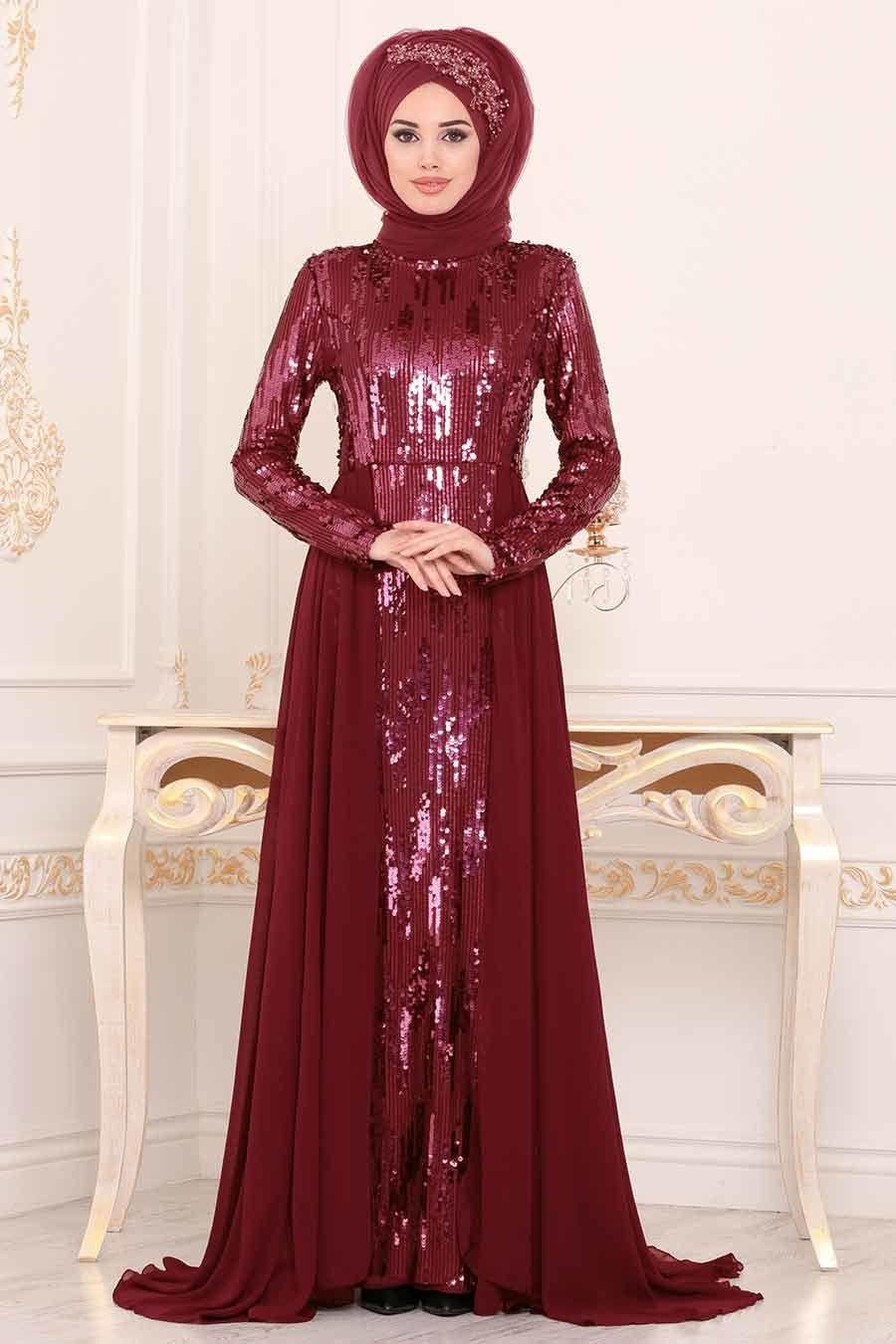 Photo of Tesettürlü Abiye Elbise – Pul Payetli Bordo Tesettür Abiye Elbise 9111BR – Tesetturisland.com