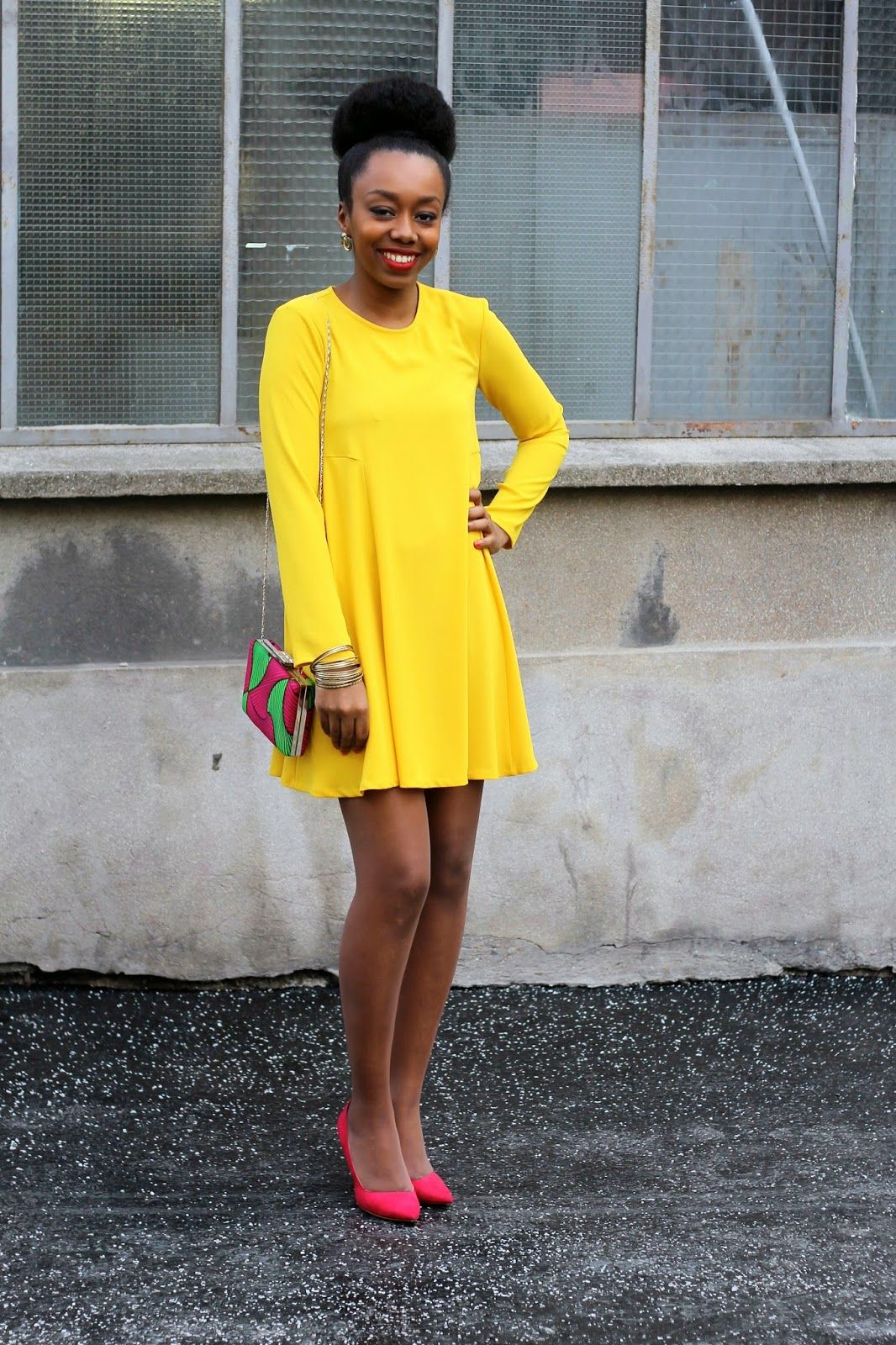 e1b88ed4061 Yellow dress   pink shoes