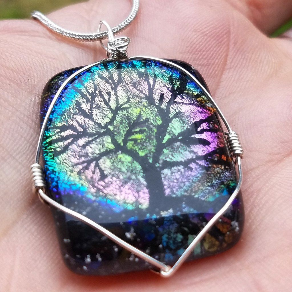 Cremation jewelry pendant full moon tree of life ashes