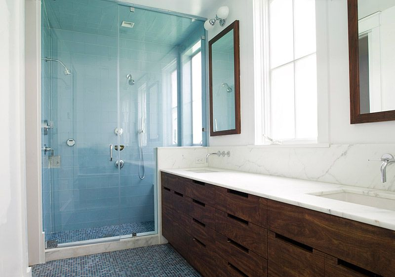 Shower, use of tile on shower wall and shower floor, duel shower ...