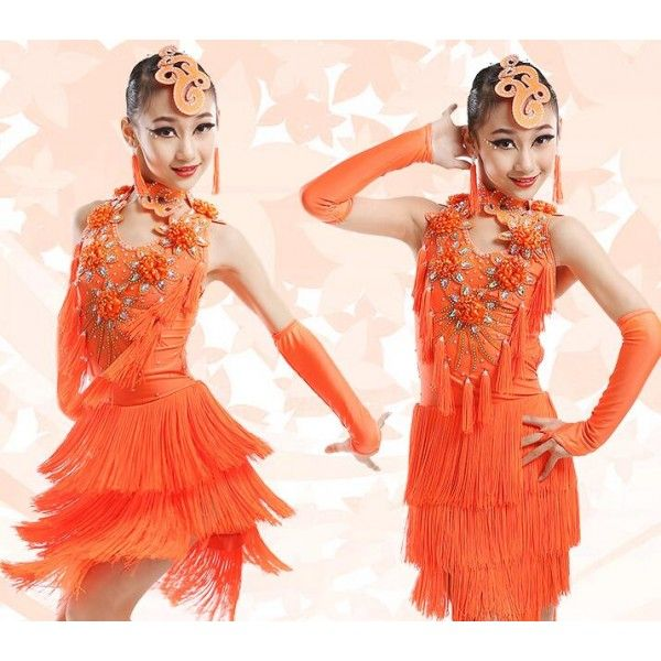 343bd44b5 Girls kids child children green orange royal blue professional fringe latin  dance dresses salsa cha cha dance dresses with gloves head wear choker