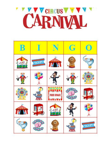 photograph regarding Carnival Printable referred to as Circus Carnival Bingo 30 Printable Birthday Occasion Bingo Video game