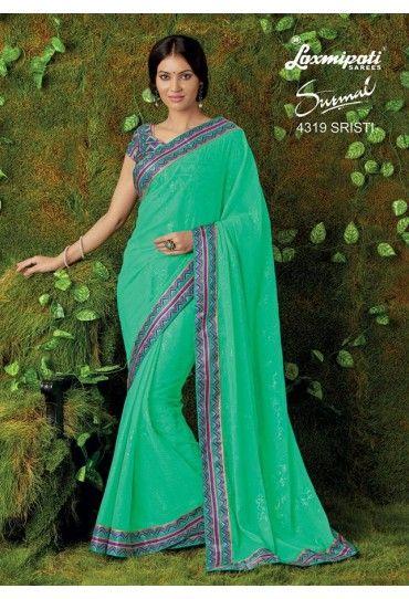 Sea Green Chiffon Saree | Chiffon saree, Saree, Laxmipati sarees