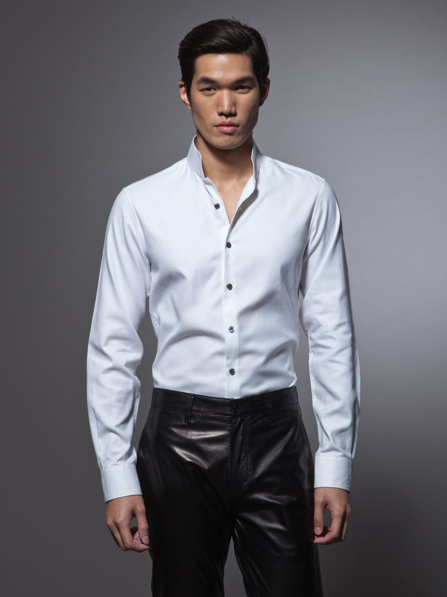 Slim Fit Cotton Tuxedo Shirt With Stand Up Collar Shirts