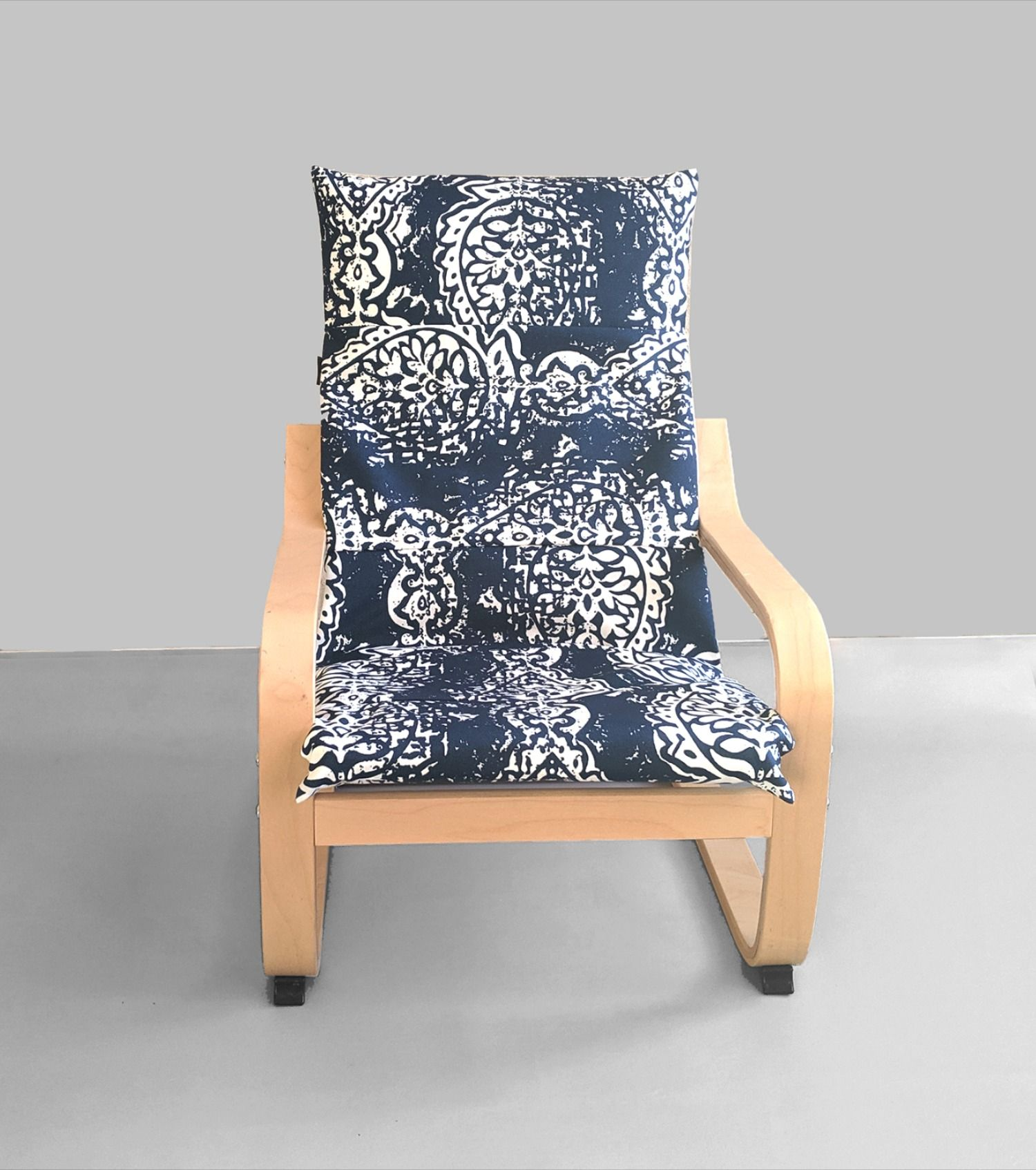 Navy Blue White Ikat Children's Poang Chair Cover in 2020