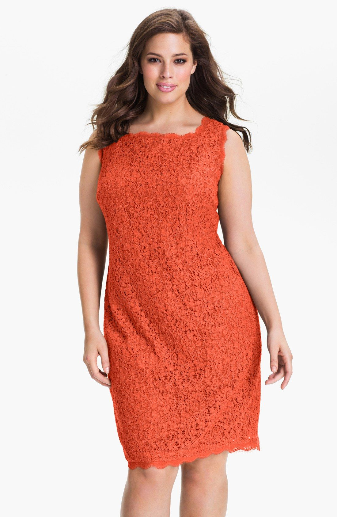Plus size coral dress for wedding  ENCAJE  costura  Pinterest  Lace sheath dress Adrianna papell