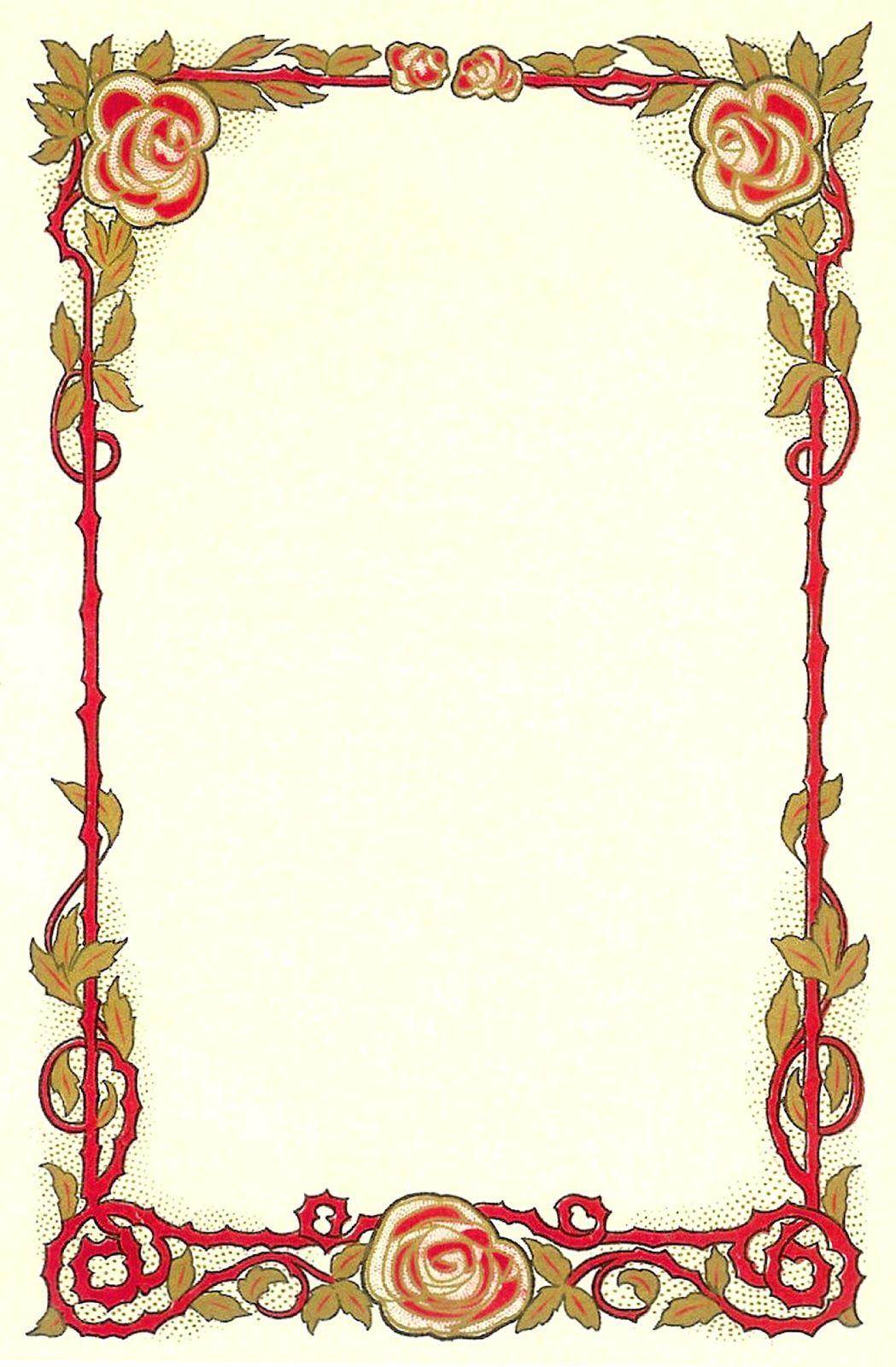 Antique Images: Flower Clip Art: Vintage Graphic of Red Rose Frame ...
