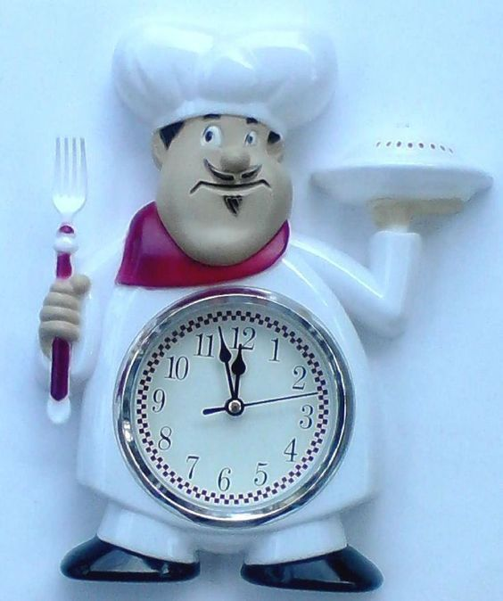 FatChef Italian Bistro Kitchen Wall Clock 12 Hour Display Battery Operated  #Unbranded #FatChef