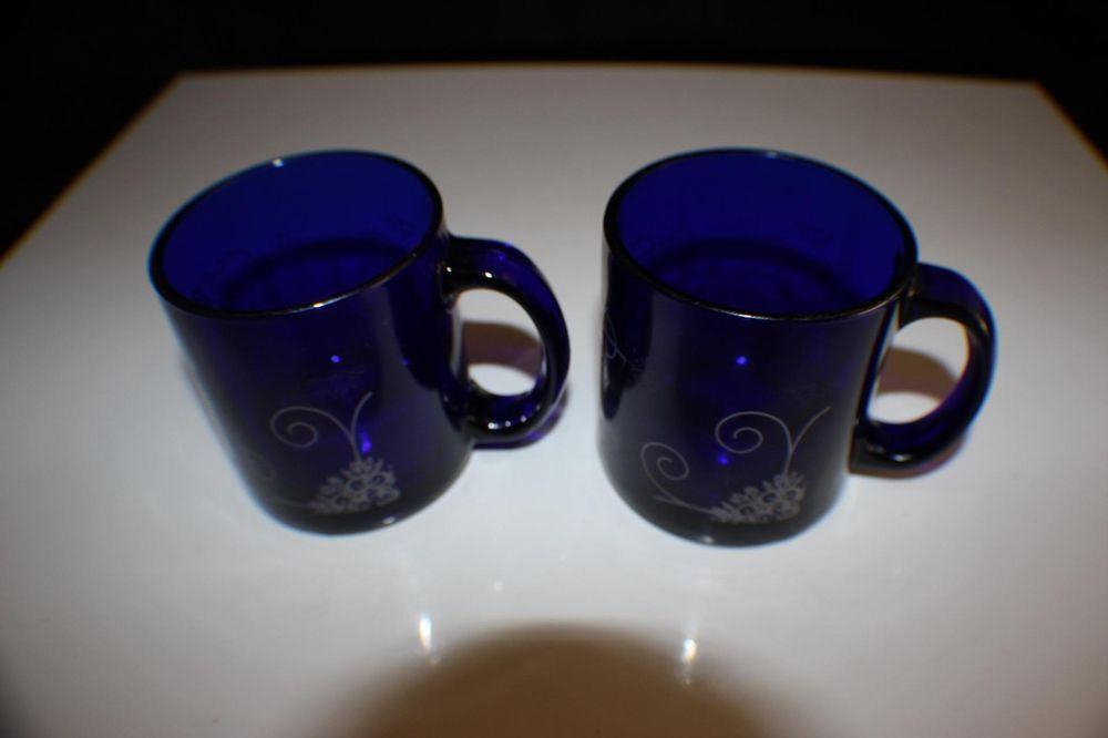 Cobalt blue glass mug cup geometric pattern made usa