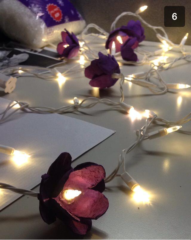 DIY Flower light decor from an egg