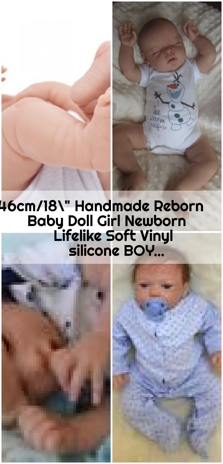 "46cm//18"" Handmade Reborn Baby Doll Boy Newborn Lifelike Soft Vinyl Silicone"