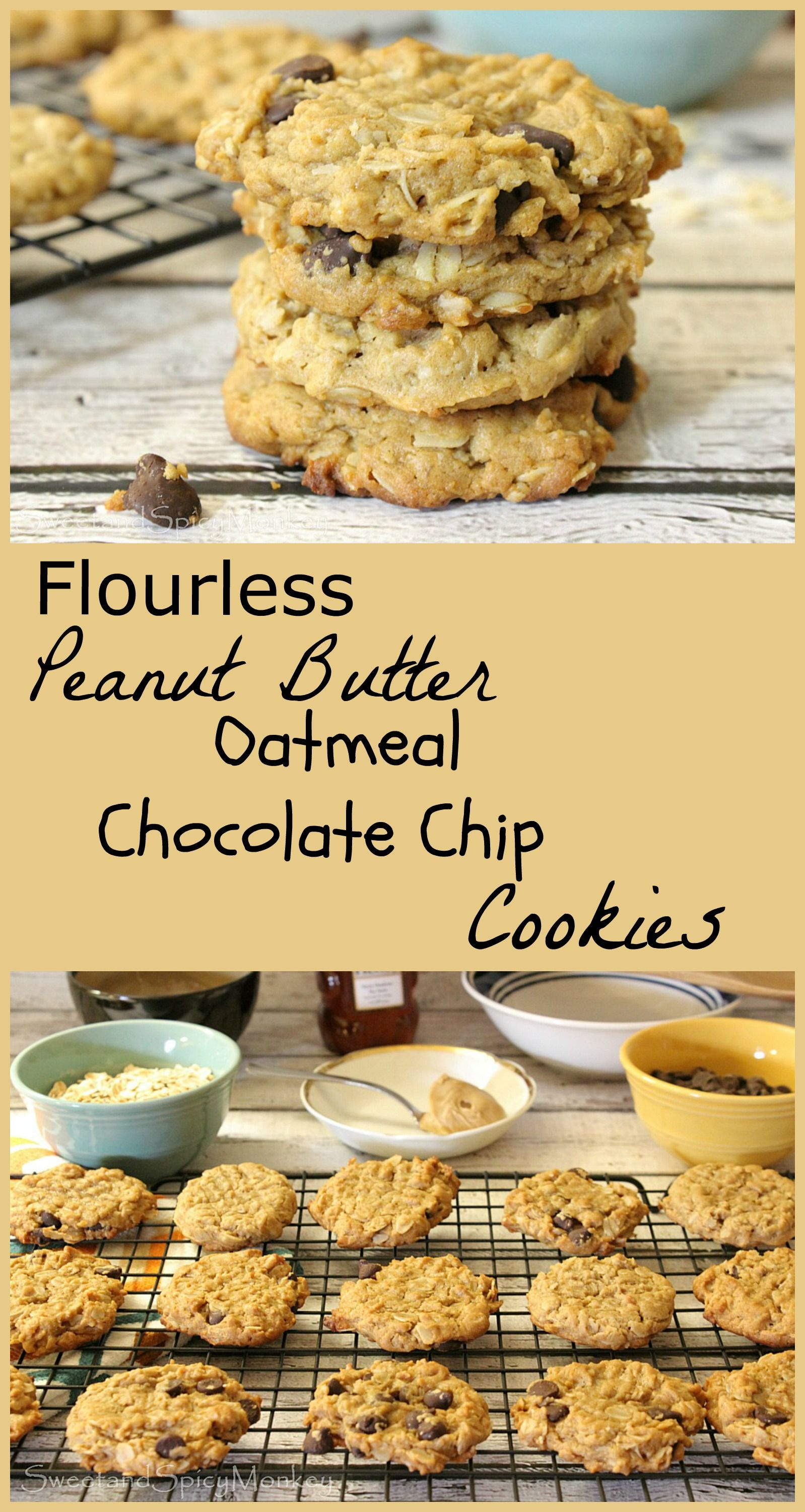 Flourless Peanut Butter Oatmeal Chocolate Chip Cookies Healthy