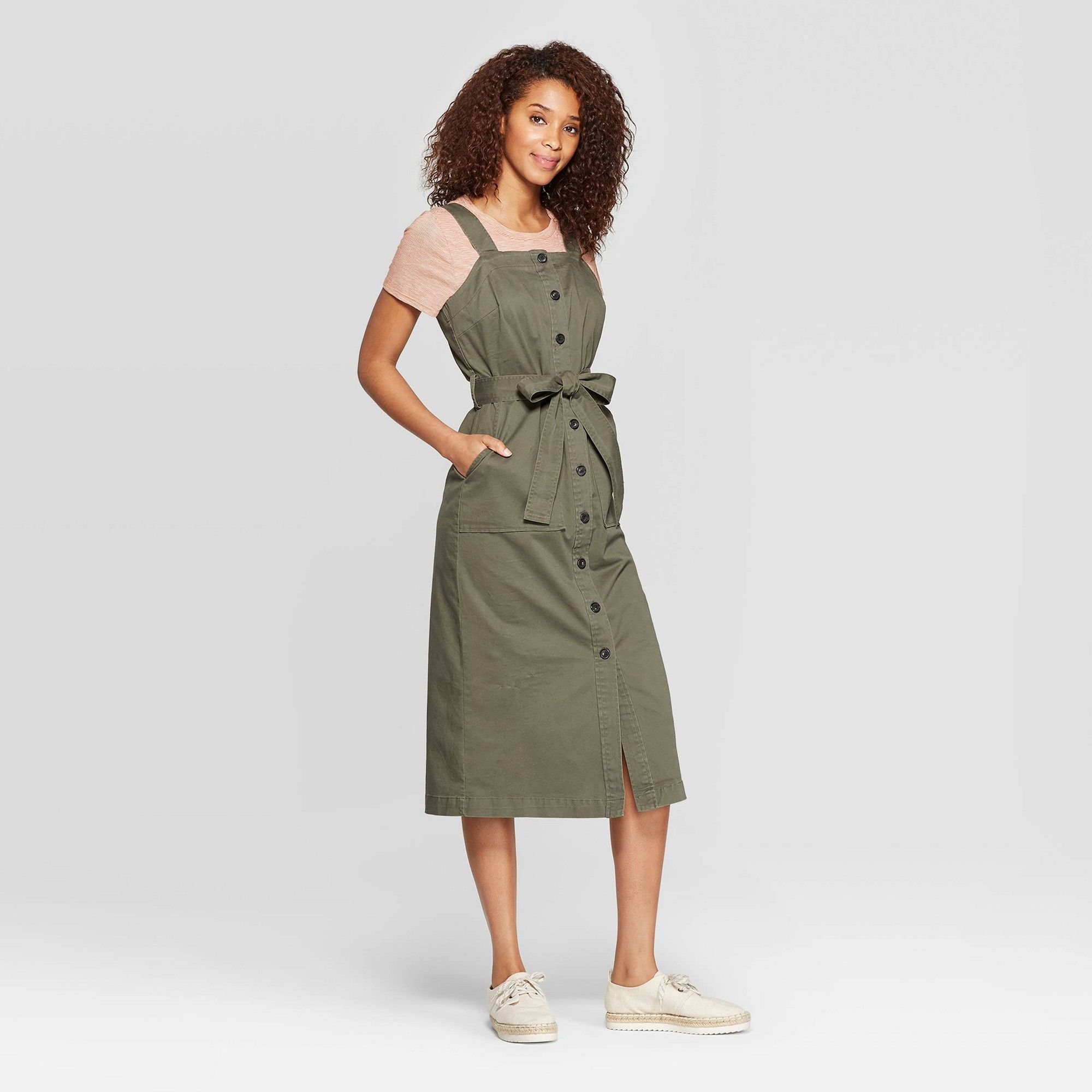 Women S Sleeveless Square Neck Midi Button Front Belted Dress Universal Thread Olive Green Xxl Belted Midi Dress Belted Dress Midi Dress Sleeveless [ 2000 x 2000 Pixel ]