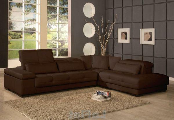 wohnzimmer mit einer grauen wand großem fenster sofa - Wohnzimmer - wohnzimmer ideen braune couch