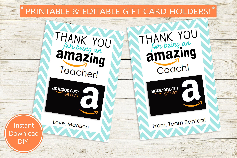 Editable and printable amazon gift card holder teacher