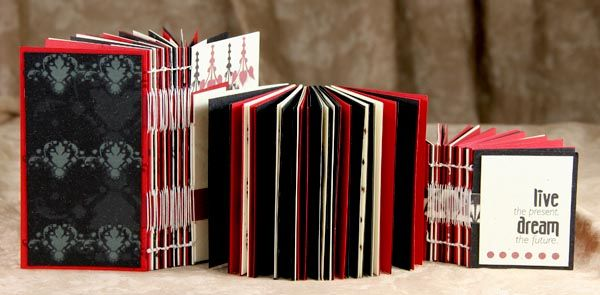 Club Scrap Creates - Kay Williamson creates kettle stitched album from Study In Red Club Scrap papers