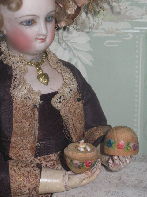 RARE Antique Miniature Tiny Wooden Egg Etui w/Penny Wooden Doll from ~ DORIAN'S DOLL ROOM ~ found @Doll Shops United http://www.dollshopsunited.com/stores/doriansdollroom/items/1301641/RARE-Antique-Miniature-Tiny-Wooden-Egg-Etui-Penny #dollshopsunited