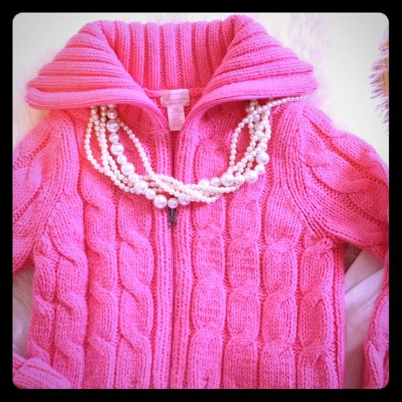 FLASH SALE! Bright Pink Zip Front Cable Sweater Gently