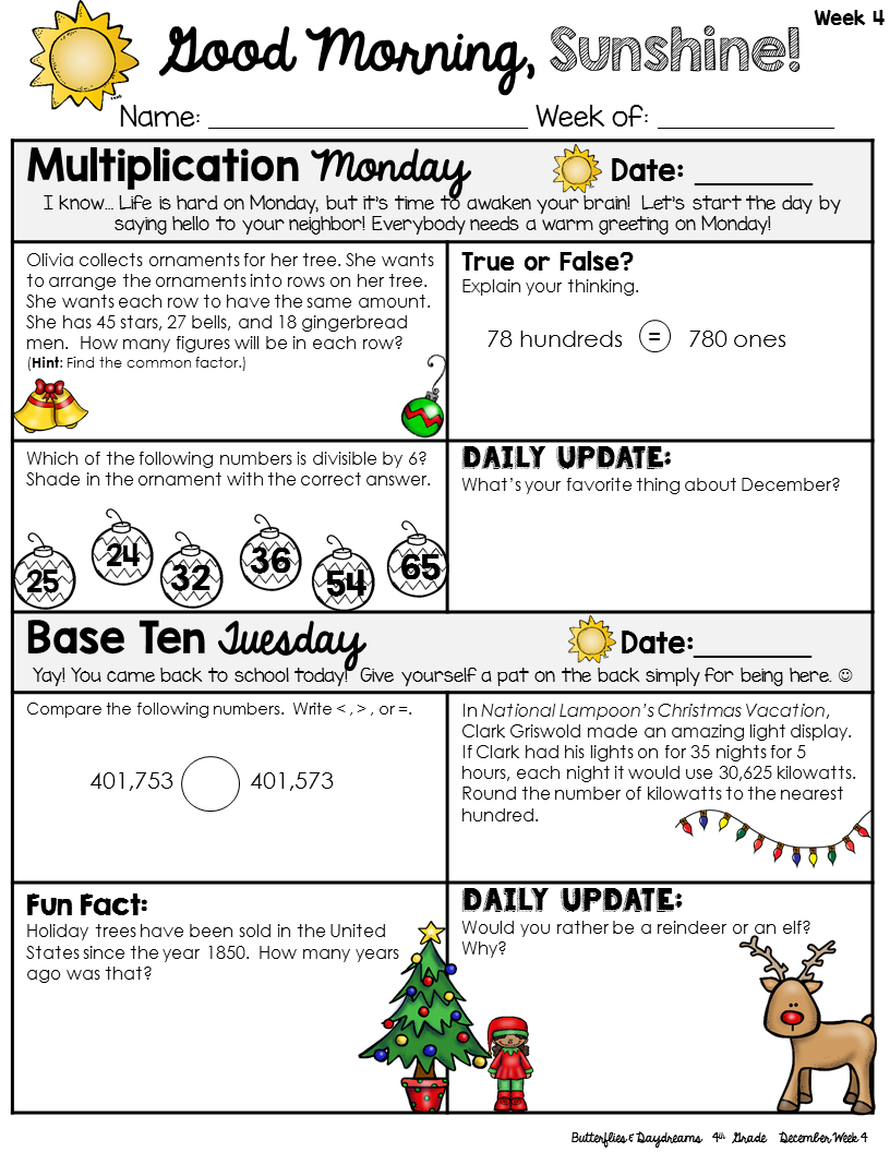 December Morning Work 4th Grade Good Morning Sunshine Place Value Multiplication Fractions Morning Work Math Morning Work Math [ 1056 x 816 Pixel ]