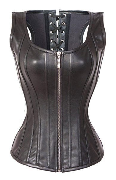 8fe0e9fe9c3 BSLINGERIE Womens Faux Leather Zipper Front Bustier Corset (S