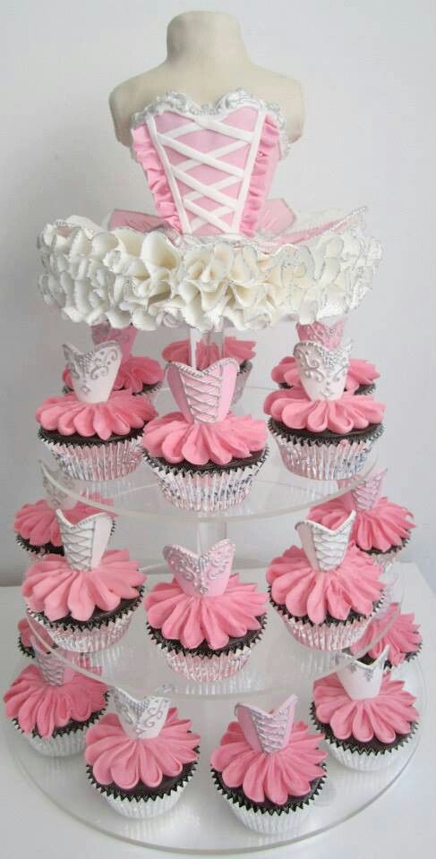 Ballerina Cake ... Tiered with Ballerina Cupcakes ... and Tutus ... FROM: http://media-cache-ak0.pinimg.com/originals/7f/d5/6f/7fd56f93ec4c5672b58150f26c7f45c0.jpg