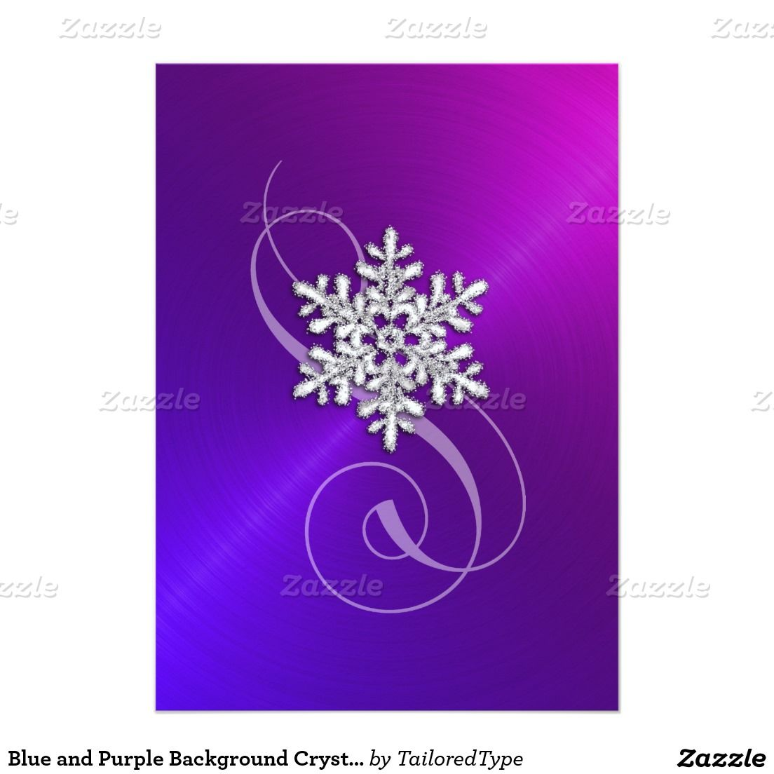 Blue And Purple Background Crystal Snowflake 5x7 Paper Invitation