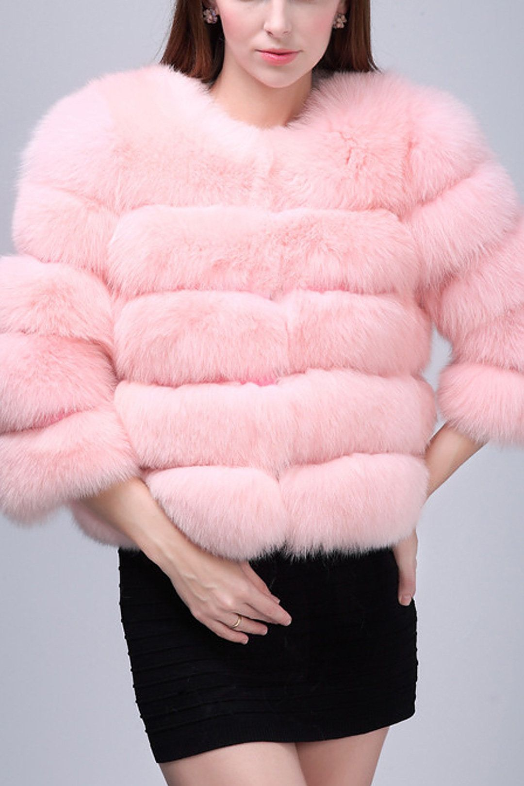 Pink Fluffy Artificial Fox Coat | Fox coat, Foxes and Eye