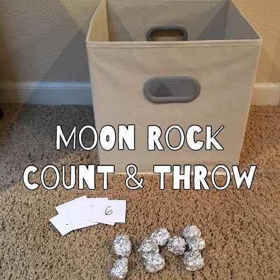 Preschool Theme: Space. Moon Rock count and throw. A great number review.
