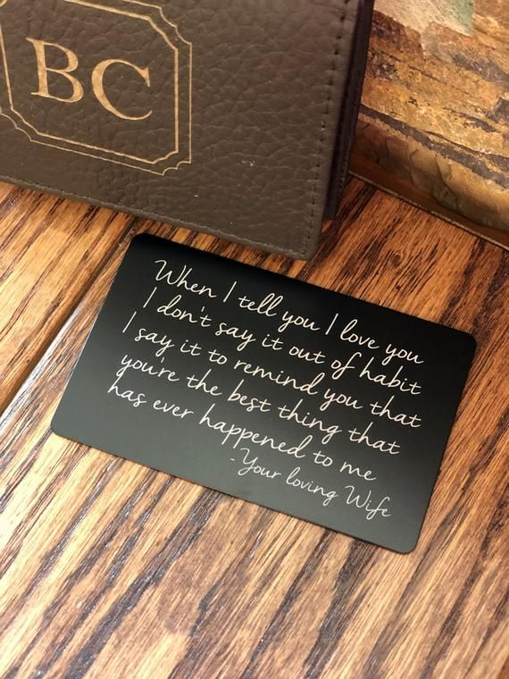 0b821bdf614 Personalized Wallet Note Card Insert, Gifts for Him, Husband ...
