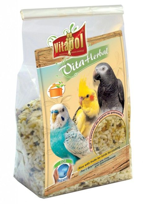 Vitapol Instant Rice & Fruit Treat for Birds and Parrots - 130gEasy to prepare instant rice mix with assorted fruits, peanuts and coconut.  Cook up this tasty rice treat for your bird to enjoy. Simply mix with boiling water and allow it to cool before serving.