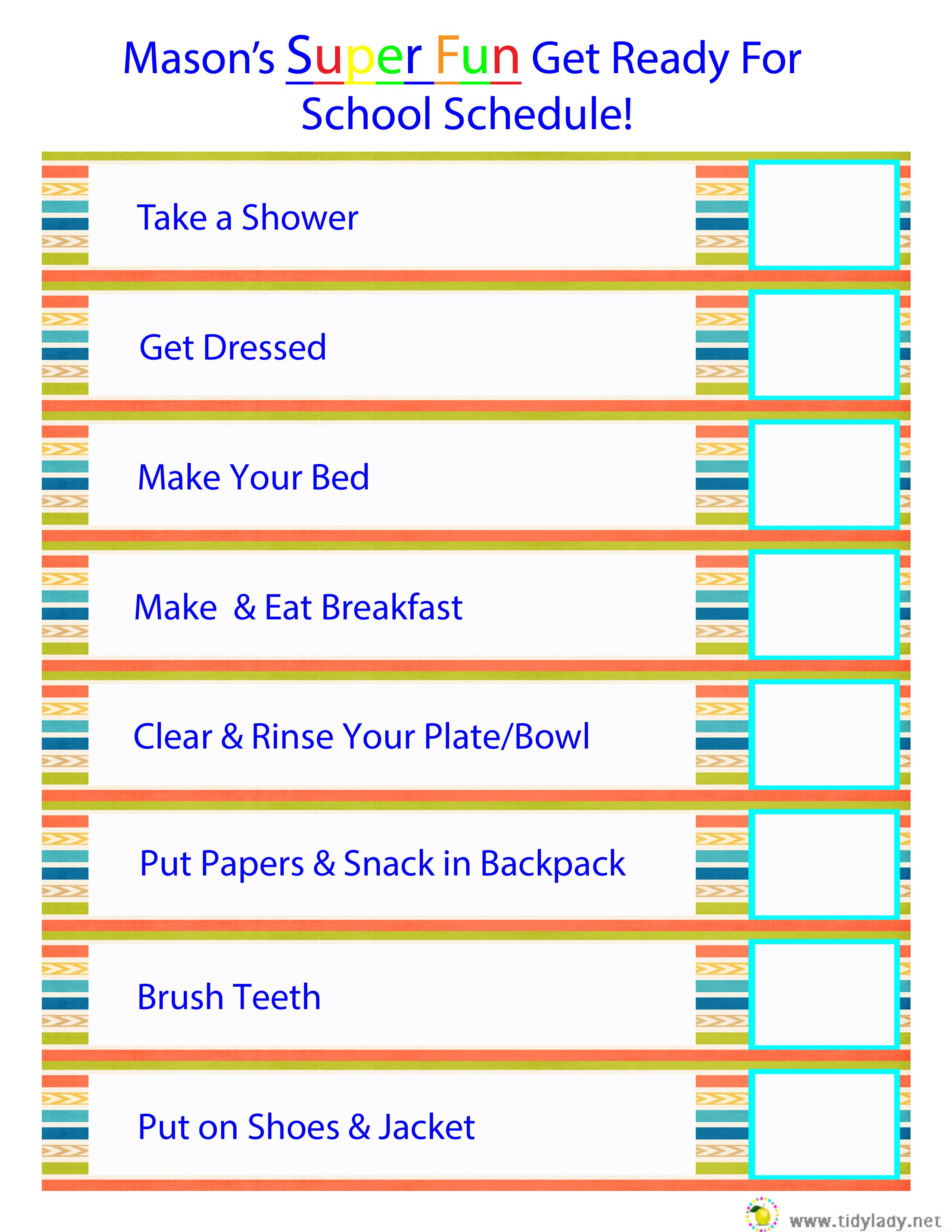 Get Ready For The Day Checklist
