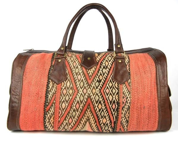 Kilim and Leather Duffle Bag Travel Bag  100fe5f395873