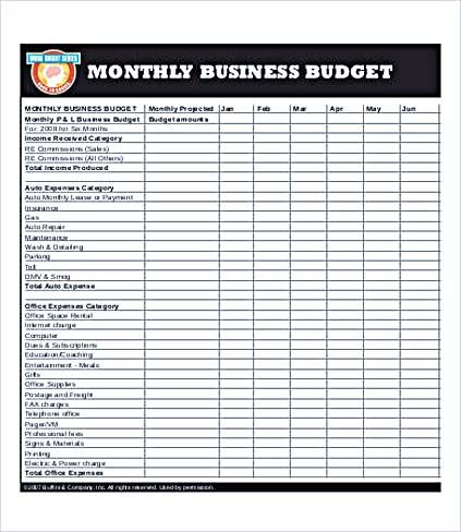 Business Monthly Budget Template , Business Budget Template for - business budget template