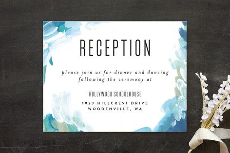 """""""Gallery Abstract Art"""" - Typography Reception Cards in Ocean by Alethea and Ruth."""