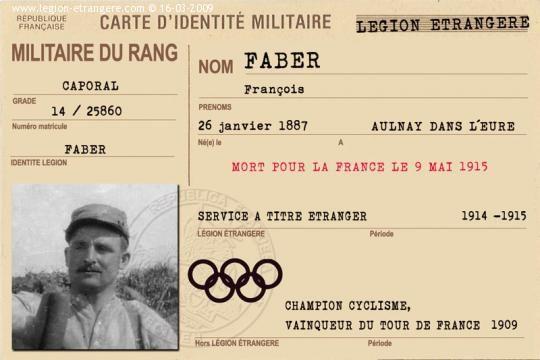 Caporal Faber François, mort pour la France le 9 mai 1915, ancien vainqueur du Tour de France