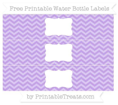 Free Pastel Purple Chevron Water Bottle Labels Patterned Party