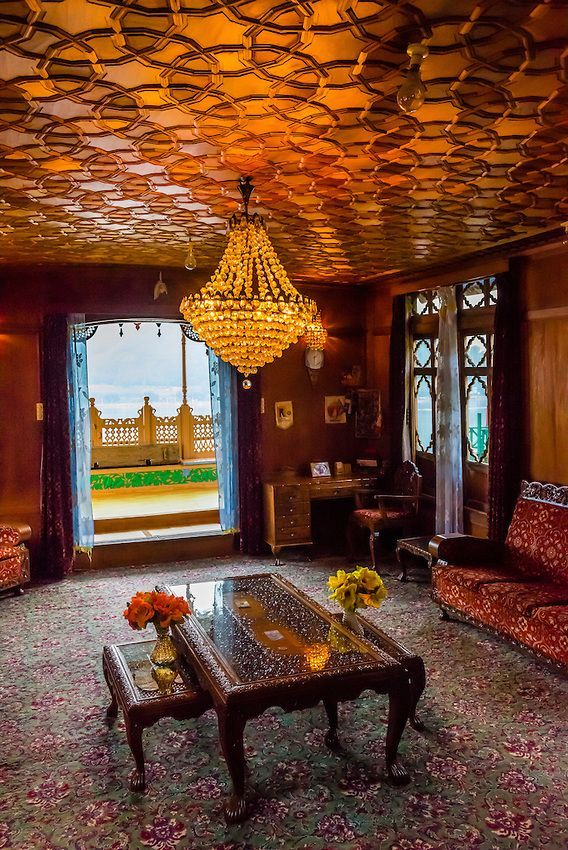 Interior view new golden hind  luxury houseboat on dal lake srinagar kashmir jammu and state india also rh in pinterest
