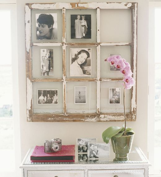 Old Window Frame to frame black & white pics~ nice. | Mirrors and ...