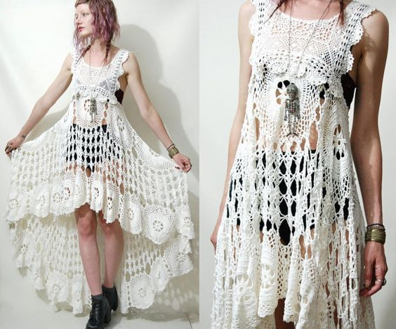 Crochet Dress VINTAGE LACE White Fishtail/Train Bohemian Hippie ...