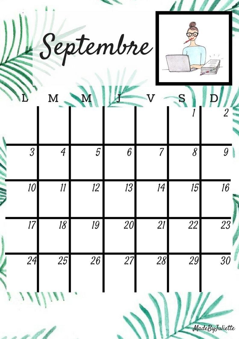 calendrier 2k18 septembre a imprimer voir ma vid o youtube madebyjuliette calendrier 2018. Black Bedroom Furniture Sets. Home Design Ideas