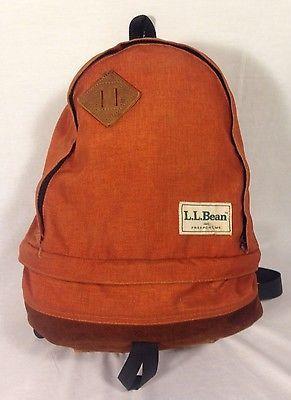 Rare Vintage LL Bean Backpack Burnt Orange Canvas Leather Bottom Hiking Bag 0e7fa48664