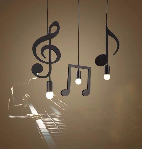 Matte Black Musical Notes Ceiling Light Ceiling lights