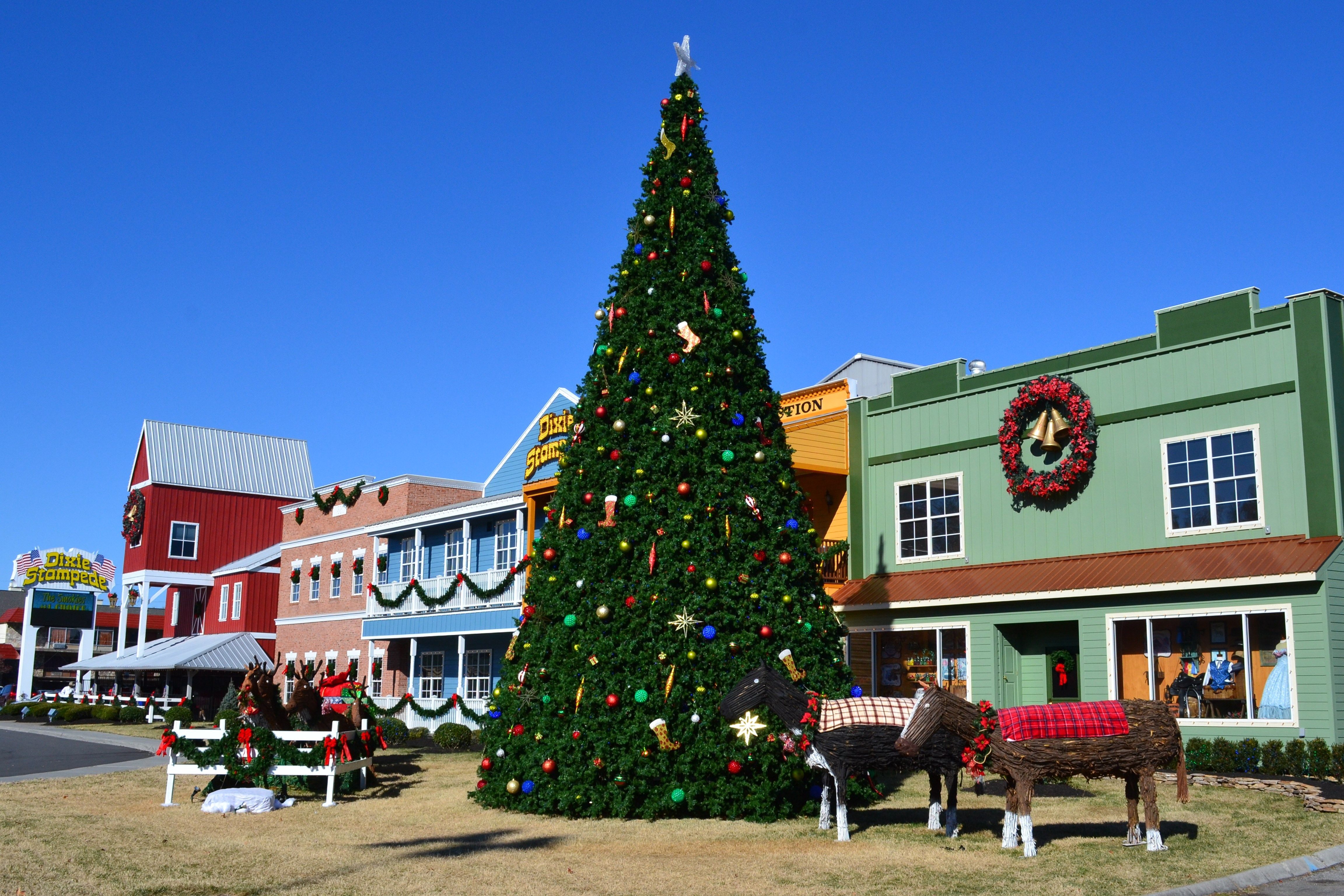 dixie stampede has beautiful christmas decorations during winterfest