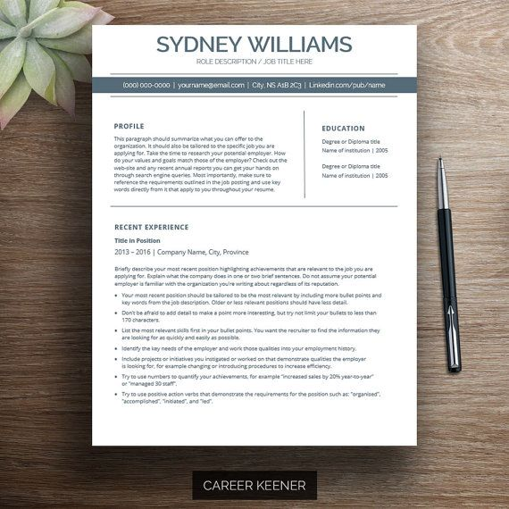 Modern Resume Template Resume + Cover Letter for MS Word Includes - ms word resume templates download