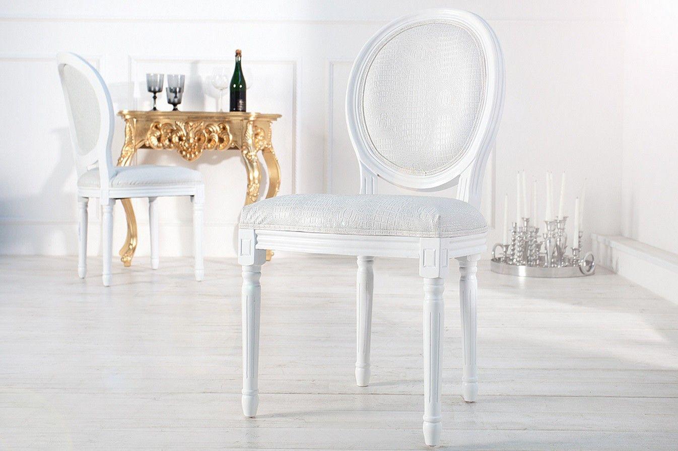 Beau Chaise Medaillon Blanc Pas Cher Décoration Française