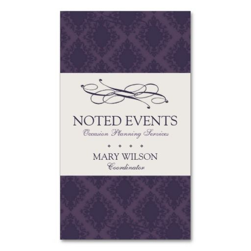 Damask Interior Design And Event Planner Business Card Marketing