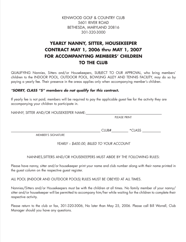 Housekeeper Contract Templates Mahre Horizonconsulting