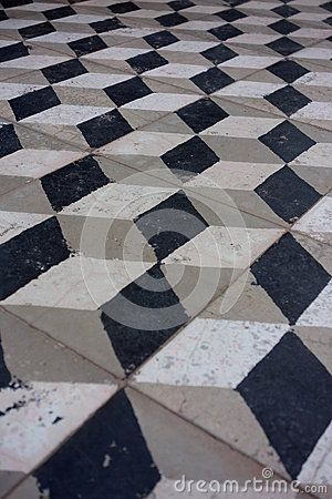 This Is An Old Temple Floor In India With The Motif Of 3d Cube