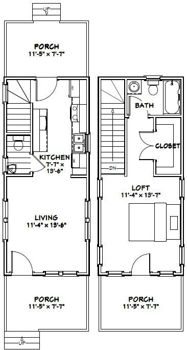 12x28 Tiny House -- #12X28H3 -- 589 sq ft - Excellent Floor Plans