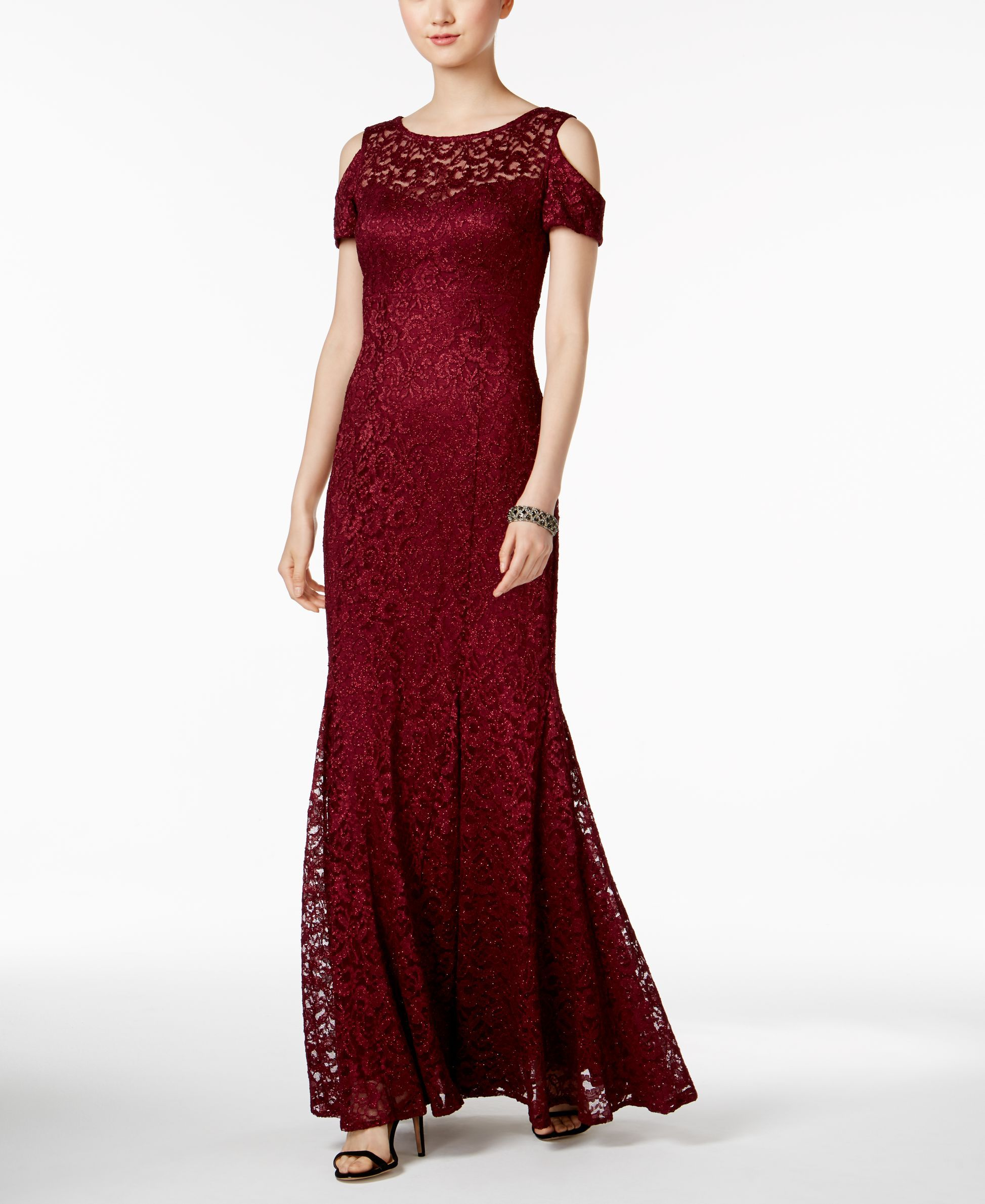 Nightway glitter lace coldshoulder aline gown a line shops and